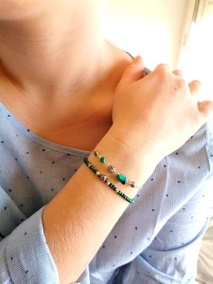Bracelet Emma Malachite Argent, bijoux fantaisie minimaliste