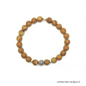 Bracelet Tyler Jaspe bois argent 925
