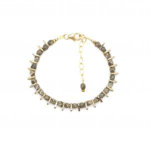 bracelet minimalist Ifri pyrite 16.5 cm: bijoux hautes fantaisie, bijoux de créateur made in Juan les pins