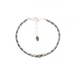 Bracelet jonc Kali Hématites argent
